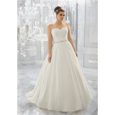 Classic Ball Gown Sweetheart Organza Lace Plus Size Wedding Dress Crystals Sash