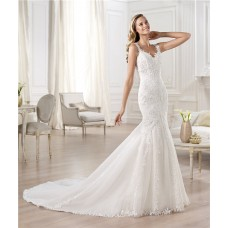 Classic Fitted Mermaid V Neck Open Back Lace Wedding Dress With Straps