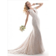 Classic Mermaid Keyhole Neckline Champagne Color Lace Wedding Dress