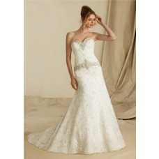 Classic Mermaid Sweetheart Lace Beaded Crystal Wedding Dress With Buttons
