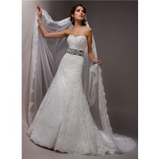 Classic Slim A Line Strapless Lace Wedding Dress With Black Ribbon Crystal Sash