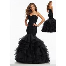 Classy Mermaid Corset Back Black Organza Ruffle Lace Beaded Prom Dress