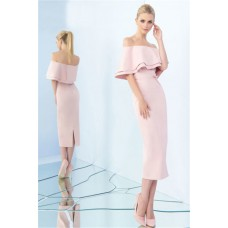 Column Off The Shoulder Tea Length Blush Pink Satin Ruffle Evening Dress