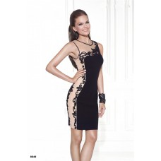 Column Scoop Neck Short Black Satin Panel Beaded Prom Dress