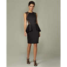 Column Short Black Lace Satin Peplum Formal Evening Dress