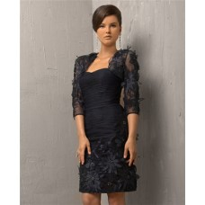 Column Strapless Short Black Flowers Cocktail Evening Dress With Bolero Jacket