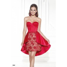 Column Sweetheart Red Satin Lace High Low Party Prom Dress
