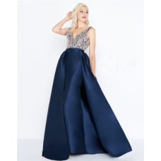 Column V Neck Open Back Navy Satin Beaded Evening Prom Dress With Pockets Overskirt