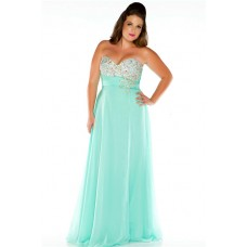 Cool A Line Strapless Long Mint Green Chiffon Beaded Plus Size Party Prom Dress