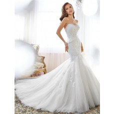 Couture Fit And Flare Mermaid Strapless Tulle Lace Beaded Corset Wedding Dress