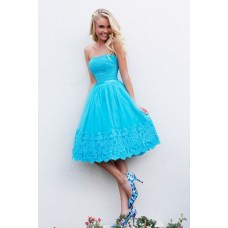 Cute A Line Strapless Short Ruched Blue Tulle Lace Party Prom Dress