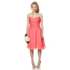 Cute A Line Strapless Sweetheart Short Coral Chiffon Ruched Party Bridesmaid Dress