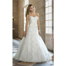 Cute A Line Strapless Tulle Lace Beaded Corset Wedding Dress