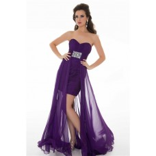 Cute Sheath Strapless Long Purple Chiffon Homecoming Prom Dress With Beading