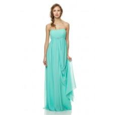 Cute Strapless Empire Waist Long Aqua Chiffon Occasion Bridesmaid Dress Beaded Belt