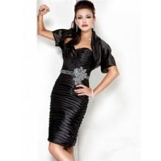 Cute Sweetheart Short Black Tiered Cocktail Evening Wear Dress With Bolero Jacket