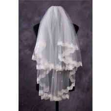Cute Tiers Tulle Lace Pearls Fingertip Length Wedding Bride Veil