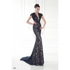 Deep V Neck Cap Sleeve Navy Blue Lace Special Occasion Evening Dress With Buttons