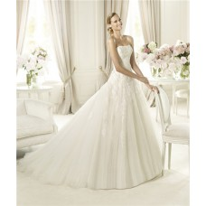 Dream Princess A Line Strapless Tulle Lace Wedding Dress With Buttons