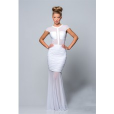 Elegant Mermaid Cap Sleeve Long White Chiffon Ruched Evening Prom Dress