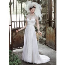 Elegant A Line Bateau Neck Front Keyhole Lace Beaded Wedding Dress With Belt
