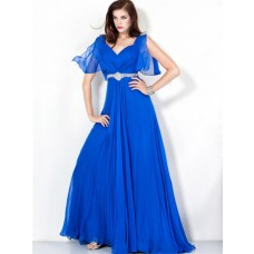 Elegant A Line Long Royal Blue Chiffon Evening Wear Dress Open Back