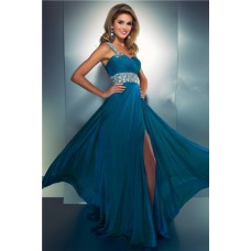 Elegant A Line One Shoulder Long Teal Blue Chiffon Beaded Prom Dress With Slit