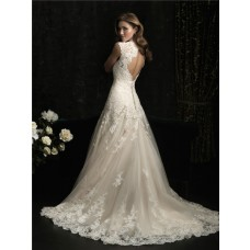 Elegant A Line Princess Scallped Neck Ivory Lace Wedding Dress Keyhole Open Back