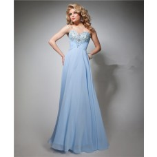 Elegant A Line Strapless Sweetheart Long Light Blue Chiffon Beaded Prom Dress