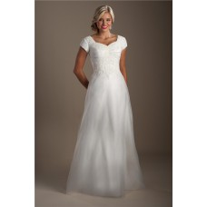 Elegant A Line Sweetheart Organza Applique Modest Wedding Dress With Sleeves