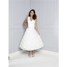 Elegant A Line V Neck And Back Tea Length Lace Wedding Dress With Sash Flower Buttons