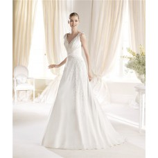 Elegant A Line V Neck Chiffon Beaded Wedding Dress With Ruched Sash