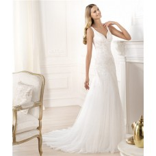 Elegant A Line V Neck Embroidery Beaded Tulle Wedding Dress With Straps
