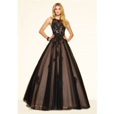 Elegant Ball Gown Open Back Black Tulle Lace Beaded Prom Dress