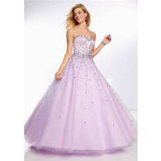 Elegant Ball Gown Sweetheart Lilac Purple Beaded Crystal Prom Dress Lace Up Back