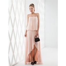 Elegant High Low Strapless Peach Chiffon Draped Party Prom Dress Detachable Straps Shawl