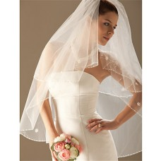 Elegant Ivory Tulle Beaded Mantilla Wedding Bridal Veil