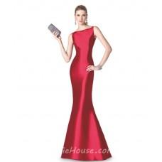 Elegant Mermaid Bateau Neck Red Taffeta Long Evening Prom Dress