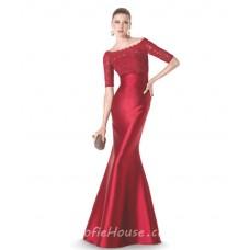 Elegant Mermaid Boat Neckline Short Sleeve Red Satin Lace Evening Dress