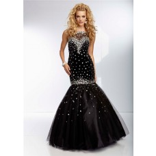 Elegant Mermaid Illusion Neckline Open Back Long Black Tulle Beaded Prom Dress