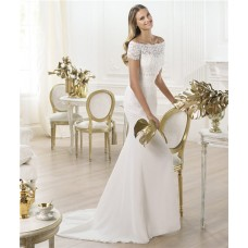 Elegant Mermaid Off The Shoulder Short Sleeve Lace Chiffon Wedding Dress