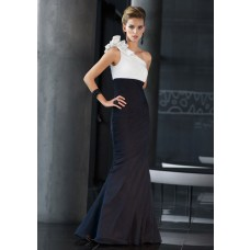 Elegant Mermaid One Shoulder Black And White Chiffon Ruched Occasion Evening Dress