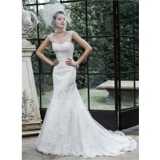 Elegant Mermaid Open Back Lace Beaded Wedding Dress With Detachable Straps
