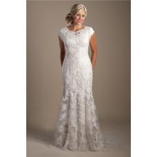 Elegant Mermaid Scoop Neck Cap Sleeve Lace Beaded Modest Wedding Dress