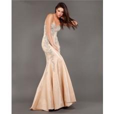 Elegant Mermaid Strapless Champagne Taffeta Beaded Evening Prom Dress