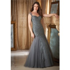 Elegant Mermaid Sweetheart Charcoal Grey Tulle Lace Beaded Evening Dress With Straps