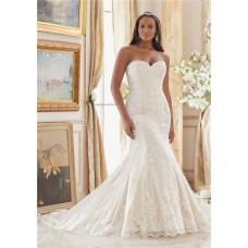 Elegant Mermaid Sweetheart Lace Plus Size Wedding Dress Corset Back