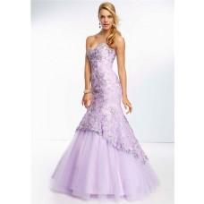 Elegant Mermaid Sweetheart Long Lavender Purple Tulle Lace Beaded Prom Dress