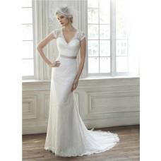 Elegant Mermaid V Neck Cap Sleeve Sheer Back Vintage Lace Wedding Dress With Sash