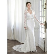Elegant Mermaid V Neck Illusion Back Long Sleeve Lace Wedding Dress